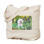 Irises and Bichon Tote Bag