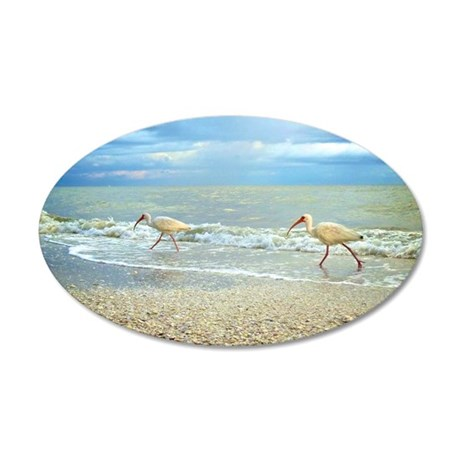 Sanibel Ibis Birds Strut The 35x21 Oval Wall Decal