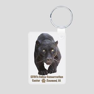 Black Jaguar Aluminum Photo Keychain