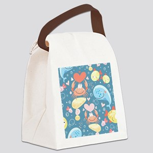 Cute Sea Life Canvas Lunch Bag