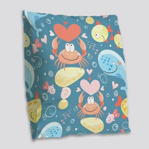 Cute Sea Life Burlap Throw Pillow