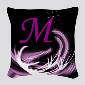 abstract purple Woven Throw Pillow
