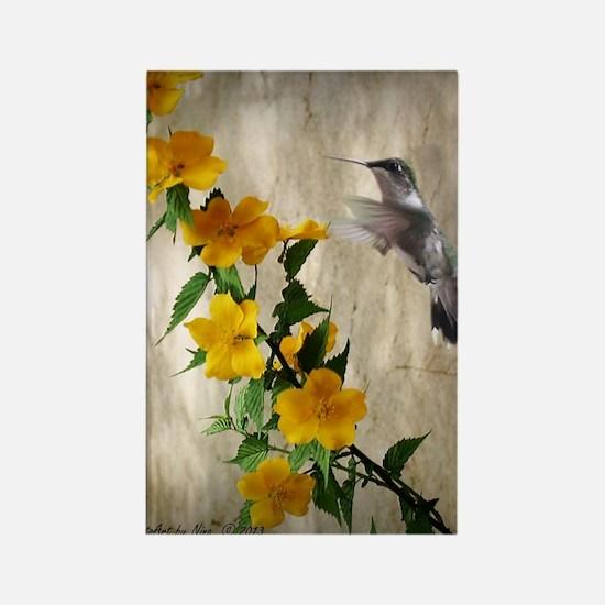 Hummingbird  flowers Rectangle Magnet