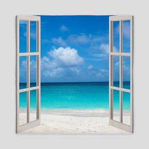 Tropical Beach View Through Window Queen Duvet