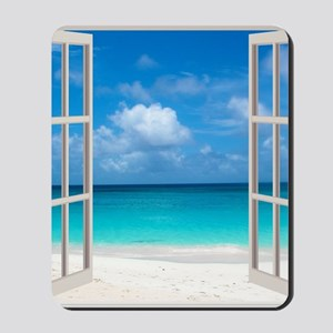 Tropical Beach View Through Window Mousepad