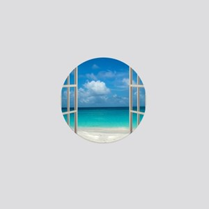 Tropical Beach View Through Window Mini Button