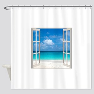 Tropical Beach View Through Window Shower Curtain