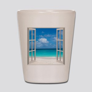 Tropical Beach View Through Window Shot Glass