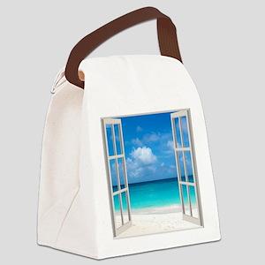 Tropical Beach View Through Windo Canvas Lunch Bag