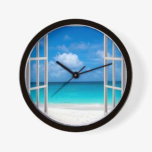Tropical Beach View Through Window Wall Clock