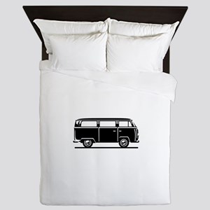 T2 - Drive by Bus (+ your Text) Queen Duvet