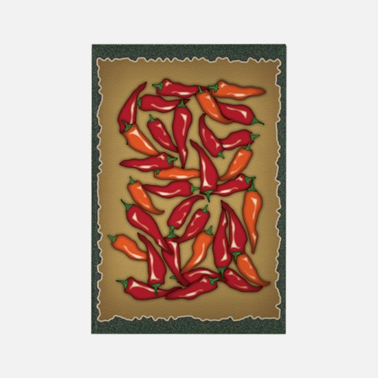 Red Chilli Peppers Rectangle Magnet
