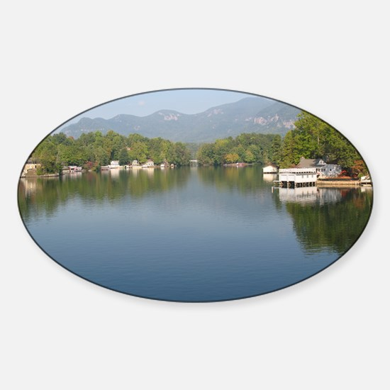 Early Morning Lake Picture Sticker (Oval)