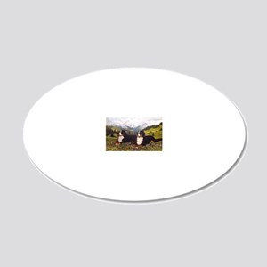 Bernese Mountain Dog Wildflo 20x12 Oval Wall Decal