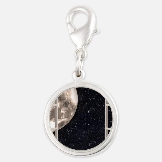 Magical Moon Silver Round Charm