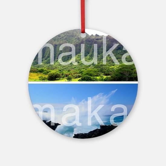 Mauka Makai Hawaii Print Round Ornament