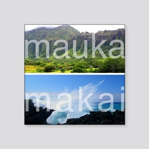 "Mauka Makai Hawaii Print Square Sticker 3"" x 3"""