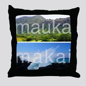 Mauka Makai Hawaii Print Throw Pillow