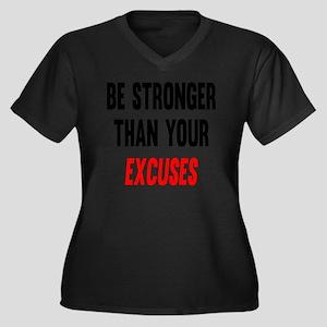Be Stronger  Women's Plus Size Dark V-Neck T-Shirt