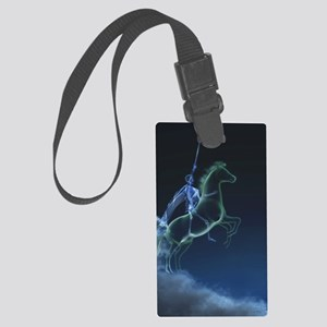 Knight in ghostly armor Large Luggage Tag