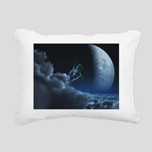Knight in ghostly armor Rectangular Canvas Pillow
