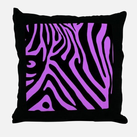 PurpleZebraTablecloth Throw Pillow