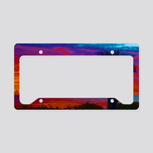Painted Sunset Sky With Palm  License Plate Holder