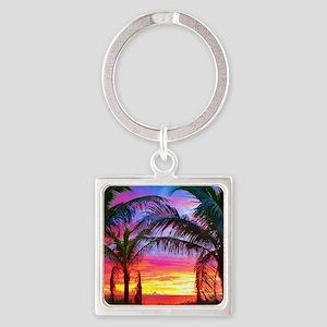 Captiva Island Sunset Palm Tree Square Keychain