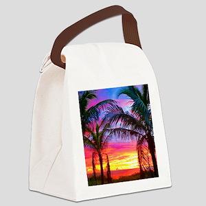 Captiva Island Sunset Palm Tree Canvas Lunch Bag