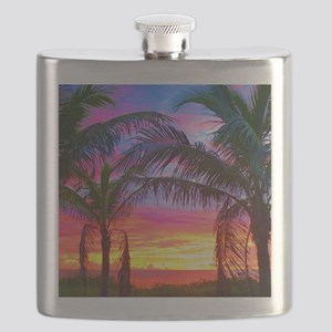Captiva Island Sunset Palm Tree Flask