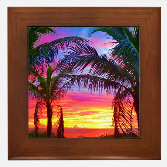 Captiva Island Sunset Palm Tree Framed Tile