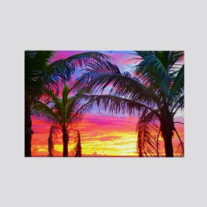 Captiva Island Sunset Palm Tree Rectangle Magnet
