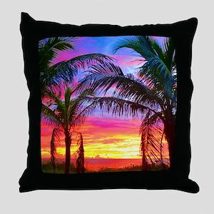 Captiva Island Sunset Palm Tree Throw Pillow
