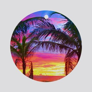 Captiva Island Sunset Palm Tree Round Ornament