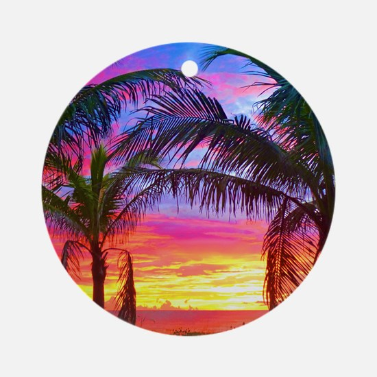 Captiva Island Sunset Palm Tree Round Ornament