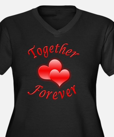Together For Women's Plus Size Dark V-Neck T-Shirt
