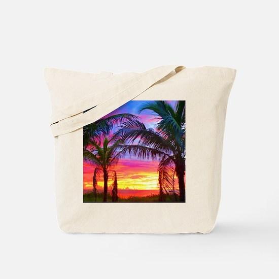Captiva Island Sunset Palm Tree Tote Bag