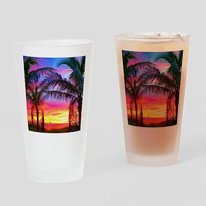 Captiva Island Sunset Palm Tree Drinking Glass
