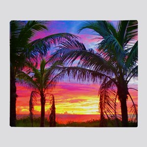 Captiva Island Sunset Palm Tree Throw Blanket