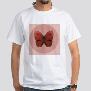 Red Rooster Butterfly White T-Shirt
