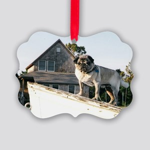 Pug on a boat Picture Ornament