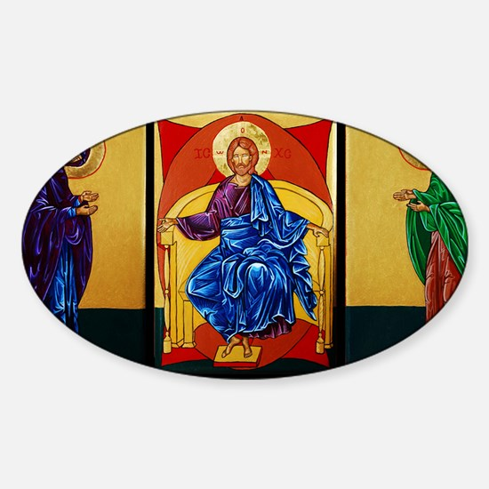 Triptych of Christ Enthroned Sticker (Oval)