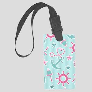 Cute Girly Nautical Print Aqua a Large Luggage Tag