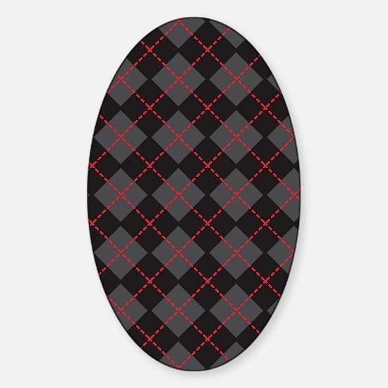 Argyle Black Sticker (Oval)