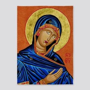 Icon of the Blessed Virgin Mary 5'x7'Area Rug