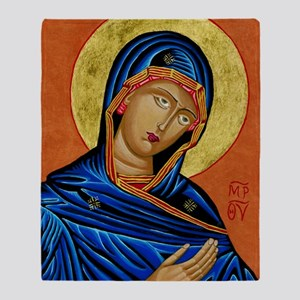 Icon of the Blessed Virgin Mary Throw Blanket