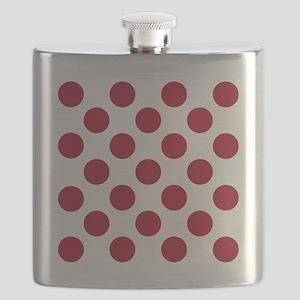 Polka Dots Sq W Red Flask