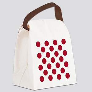 Polka Dots Sq W Red Canvas Lunch Bag