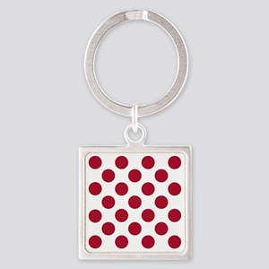 Polka Dots Sq W Red Square Keychain
