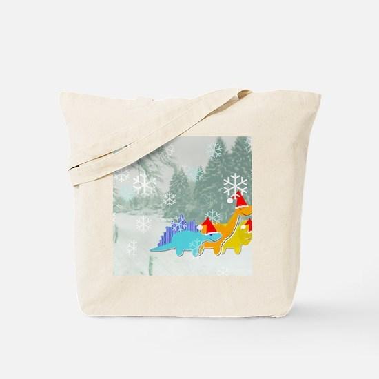 Snow Dinosaurs Tote Bag